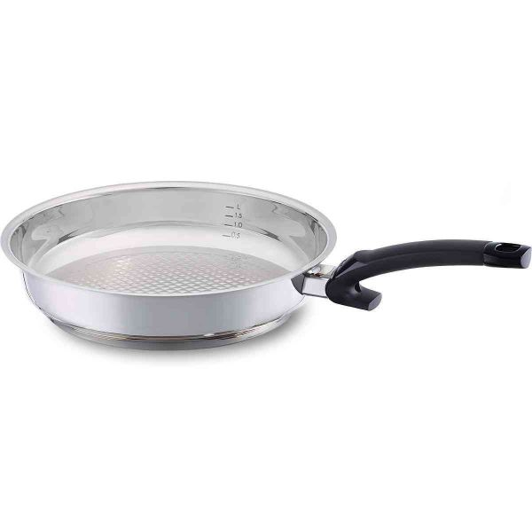 Crispy Steelux Comfort, Stainless Steel Frying Pan with Plastic Handle, 11 Inch