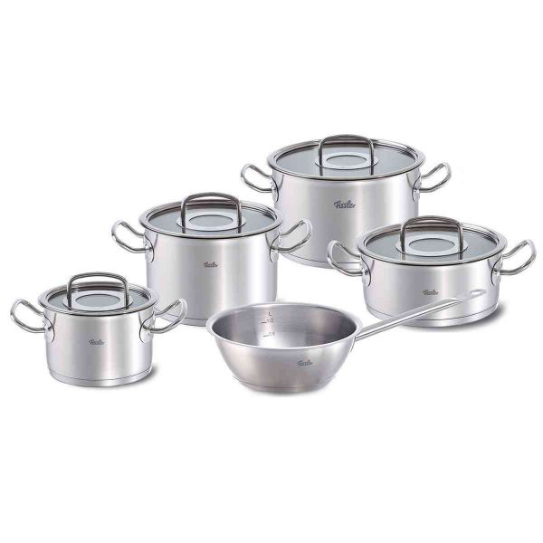 Original-Profi 9-Piece Stainless Steel Cookware Set with Glass Lids