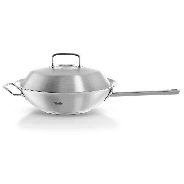 pure-profi collection Stainless Steel Wok with Lid, 11.8 inch