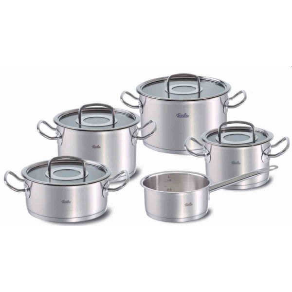 original-profi collection® 9-Piece Stainless Steel Cookware Set with Glass Lids