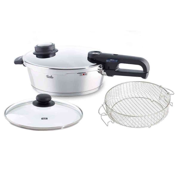 vitavit® premium Pressure Skillet 10.2in 4.2qt with Glass Lid and Basket